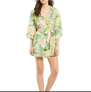 Betsey Johnson tropical vibes terry short robe
